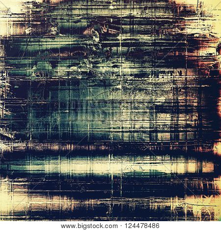 Grunge retro texture, aged background with vintage style elements and different color patterns: yellow (beige); blue; gray; black; cyan