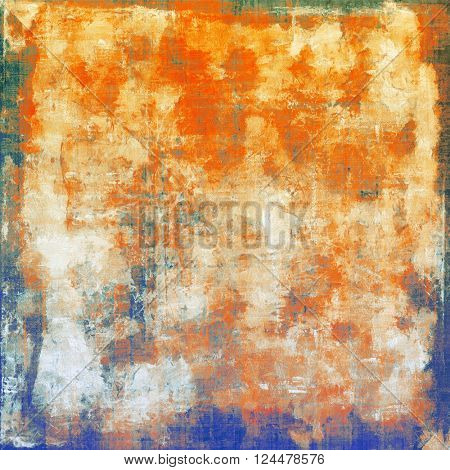 Old grunge background or aged shabby texture with different color patterns: yellow (beige); green; blue; red (orange); white