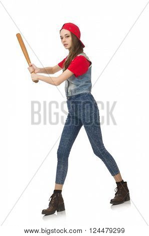 Pretty girl holding baseball bat isolated on white