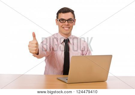 Young businessman isolated on the white