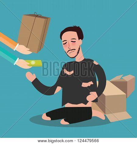 giving money to poor homeless living in card board beggar  zakat concept giving in islam vector