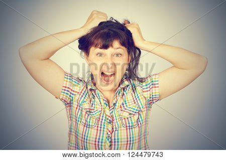 Angry Crazy Caucasian Young Girl Grabs Hair