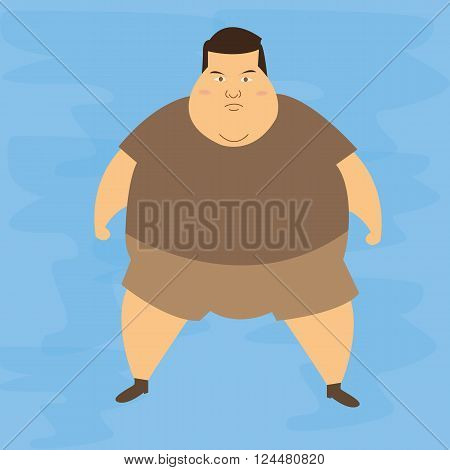 man obese obesity fat belly not healthy overweight character illustration vector