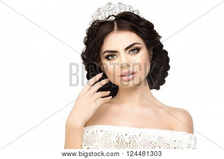 Woman, lux crown, queen princess white background Luxury girl Shiny healthy volume long hair Waves Curls Updo Hairstyle. Salon Fashion model luxurious vintage interior Jewelry Earrings