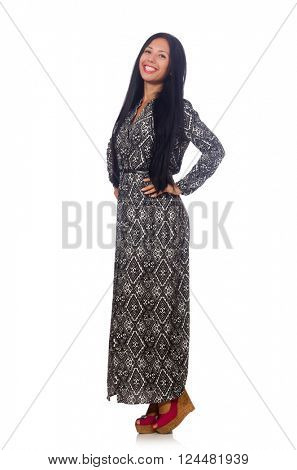 Black hair woman in long gray dress isolated on white