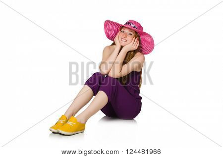 Pretty romantic girl in purple overalls isolated on white