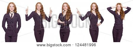 Business lady in various poses isolated on white