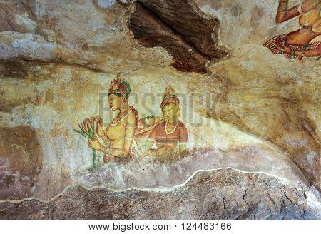 Sigiriya Maiden - 5Th Century Frescoes At The Ancient Rock Fortress