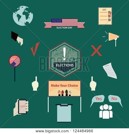 A set of signs and symbols describing the election or vote. Presidential elections in America