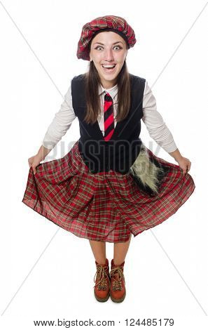 Scottish woman isolated on the white background