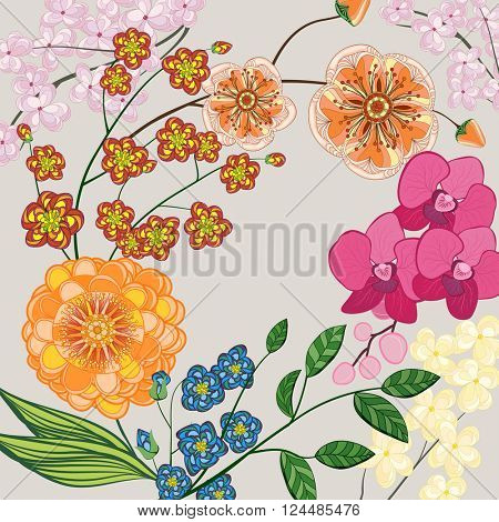 Background with flowers and leaves. Illustration greeting card.