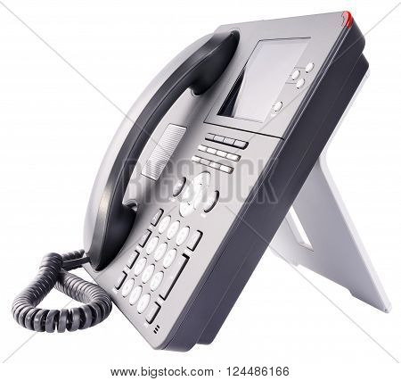 Office IP telephone set with large LCD isolated on the white background