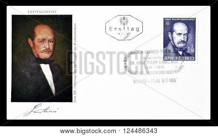 AUSTRIA - CIRCA 1965 : Cancelled First Day Cover letter printed by Austria, that shows portrait of Semmelweis.