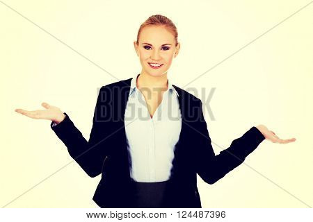 Business woman presenting something on open palm