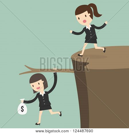 Fiscal cliff crisis concept. Business Concept Cartoon Illustration.