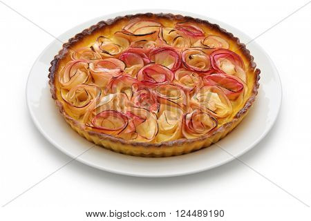 apple rose tart on white background