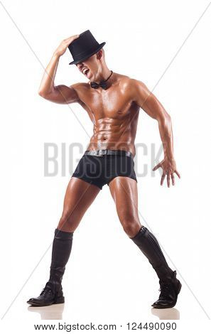 Nude man dancing on the white background