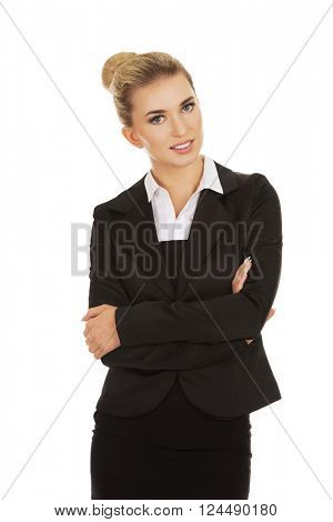 Young blonde smile businesswoman.