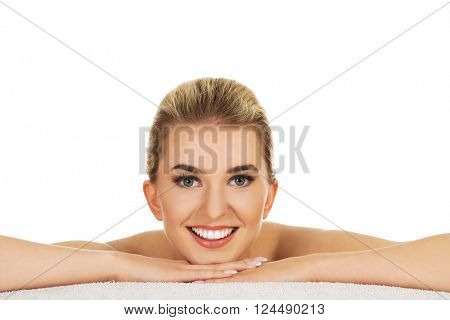 Young beautiful woman based on table