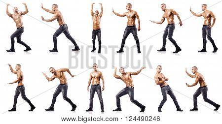 Ripped man pushing away virtual obstacle