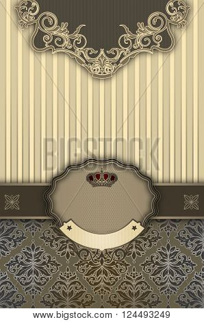 Luxury vintage background with decorative borderframe and old-fashioned patterns. Vintage invitation card or cover-book design.