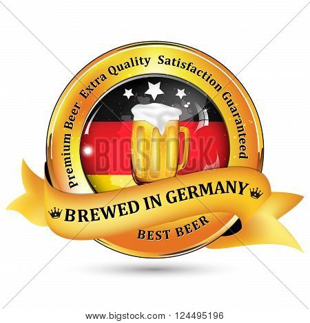 Brewed in Germany - Premium Beer Extra quality, Satisfaction Guaranteed ribbon / sticker advertising for pubs, clubs, restaurants and breweries. Contains beer mug and the flag of Germany.