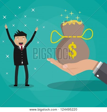 happy cartoon business man receives a huge bag of gold coins. bonus concept. vector illustration in flat design on green background