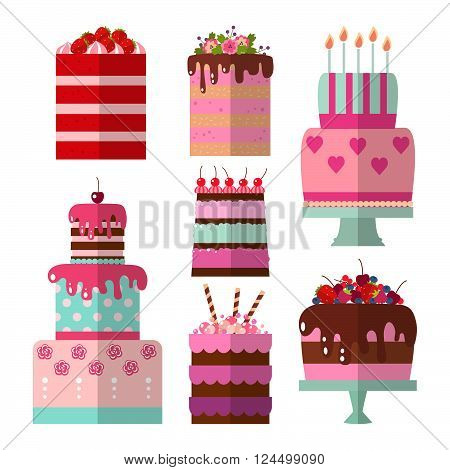 Collection of vector flat illustration of cake. Set of holiday icons cake. Cake for Happy birthday, party decoration or design menu