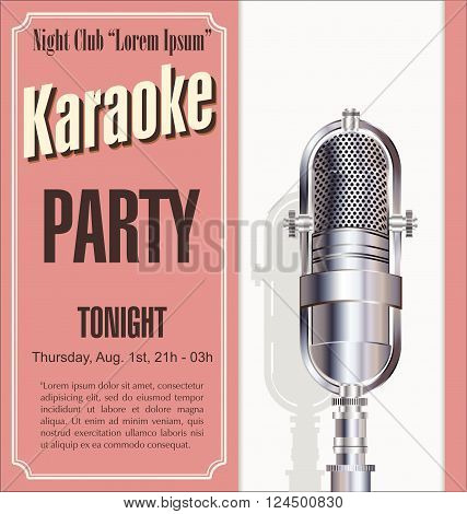 Karaoke party retro vintage poster vector illustration