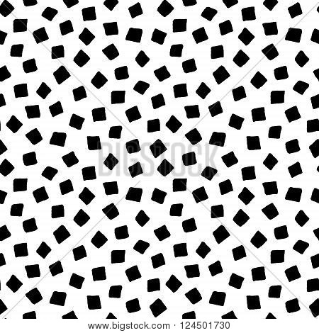 Black and white square shape hand drawn simple geometric seamless pattern, vector background