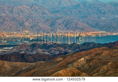 Evening view from Eilat mountains to aqaba gulf. Israel