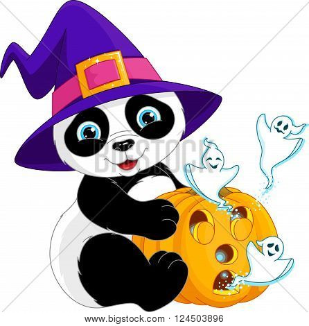 Halloween panda holding pumpkin with ghosts, EPS 8