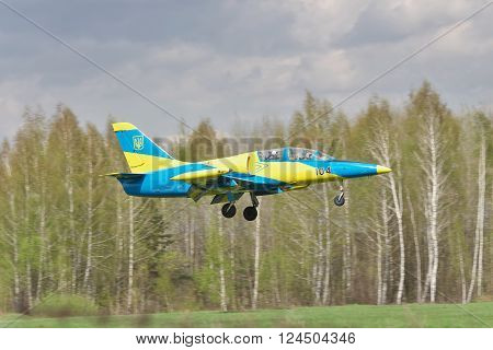 Vasilkov Ukraine - April 24 2012: Ukrainian Air Force Aero L-39 Albatros landing after a training flight