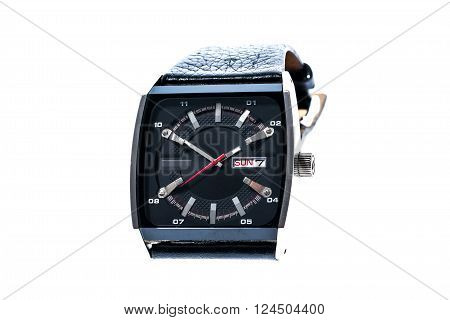 Mens luxury square swiss mechanical wrist watch with leather wristband strap. Chronograph or tachometer isolated on white. High resolution photo.