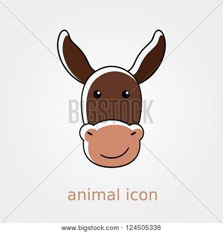 Donkey icon. Farm animal vector illustration eps 10