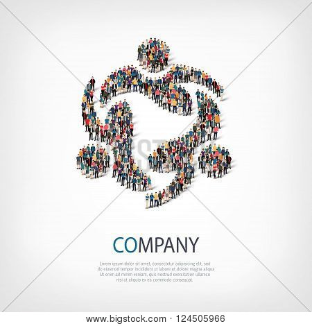 Isometric set of styles, company , web infographics concept  illustration of a crowded square, flat 3d. Crowd point group forming a predetermined shape. Creative people. - Vector Illustration. Stock vector.