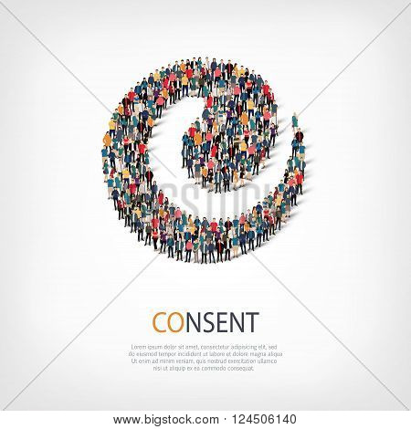 Isometric set of styles, consent , web infographics concept  illustration of a crowded square, flat 3d. Crowd point group forming a predetermined shape. Creative people. - Vector Illustration. Stock vector.