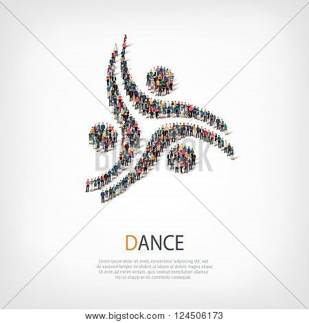 Isometric set of styles, dance , web infographics concept  illustration of a crowded square, flat 3d. Crowd point group forming a predetermined shape. Creative people. - Vector Illustration. Stock vector.