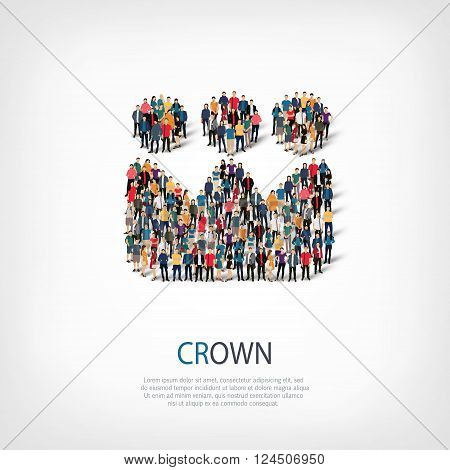 Isometric set of styles, crown , web infographics concept  illustration of a crowded square, flat 3d. Crowd point group forming a predetermined shape. Creative people. - Vector Illustration. Stock vector.
