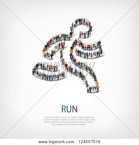 Isometric set of styles, runing man , web infographics concept  illustration of a crowded square, flat 3d. Crowd point group forming a predetermined shape. Creative people. - Vector Illustration. Stock vector.