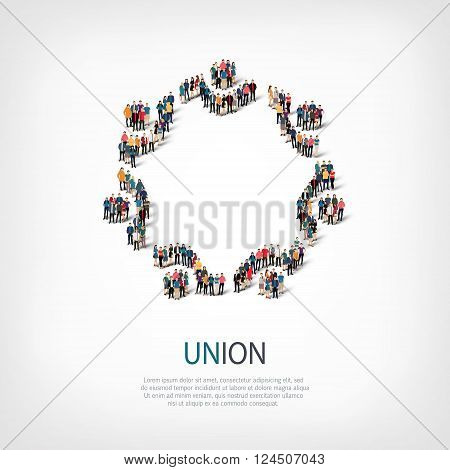 Isometric set of styles, union  , web infographics concept  illustration of a crowded square, flat 3d. Crowd point group forming a predetermined shape. Creative people. - Vector Illustration. Stock vector.
