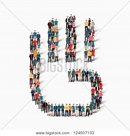 Isometric set of styles, stop the palm, web infographics concept  illustration of a crowded square, flat 3d. Crowd point group forming a predetermined shape. Creative people. - Vector Illustration. Stock vector.