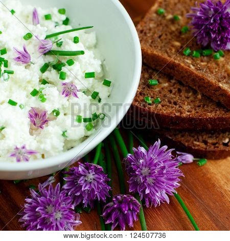 Organic rye bread with fresh chives and cottage cheese selective focus