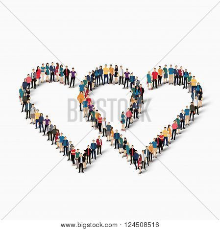 Isometric set of styles, heart  , web infographics concept  illustration of a crowded square, flat 3d. Crowd point group forming a predetermined shape. Creative people. - Vector Illustration. Stock vector.