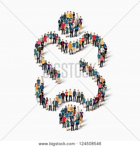 Isometric set of styles abstract  symbol friendship web infographics concept vector illustration of a crowded square, flat 3d. Crowd point group forming a predetermined shape. Creative people. - Vector Illustration. Stock vector.