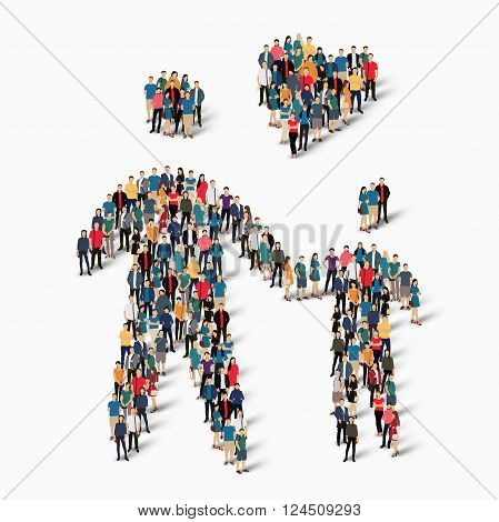 Isometric set of styles, man with heart , web infographics concept  illustration of a crowded square, flat 3d. Crowd point group forming a predetermined shape. Creative people. - Vector Illustration. Stock vector.