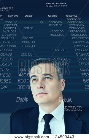 Looking into future. Digitally generated image of mature businessman looking up at account statement poster