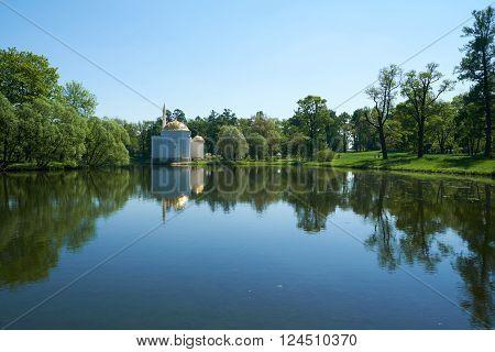Rusiia. Catherine Park. Turkish bath. Lake and sky.