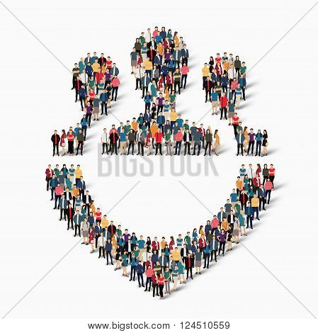 Isometric set of styles, purpose , web infographics concept  illustration of a crowded square, flat 3d. Crowd point group forming a predetermined shape. Creative people. - Vector Illustration. Stock vector.