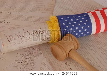 United States Constitution gavel and american flag